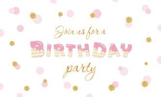Födelsedagsfestinbjudan på festlig bakgrund för prick med glitter