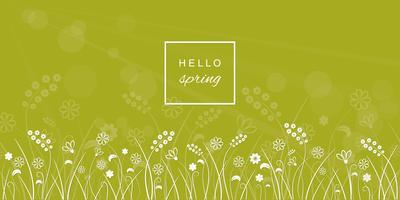 Hallo Frühlingsbuchstaben auf Wiese unscharfem Hintergrund.