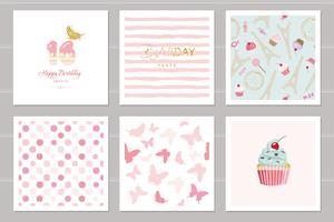 Geburtstagskarten für Mädchen im Teenageralter festgelegt. Einschließlich nahtloser Muster in Pastellrosa. Sweet 16, Schmetterlinge, Cupcake, Tupfen, Eiffelturm, gestrippt.