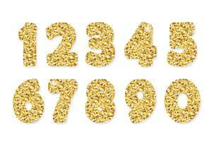 Goldglitzer-Zahlen. Für Geburtstags- und Partyfestgestaltung.