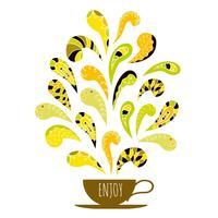 Tasse Kaffee mit bunter Aromaverzierung. Handgezeichnete dekorative Elemente.