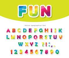 Modernt färgrikt stilsort med ljusa pappersutklipp ABC-bokstäver och siffror