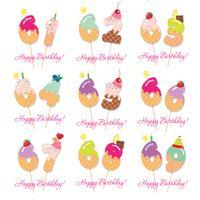 Födelsedagskortuppsättning. Festliga söta siffror från 61 till 69 vektor