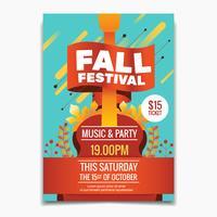 Fall Festival Flyer oder Poster Vorlage. Autumn Maple-Blätter und Gitarrenhintergrund