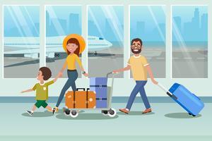 lycklig familj går ombord till planet