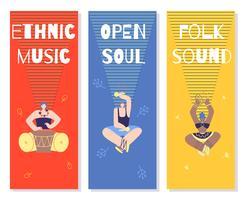 Uppsättning av musik Banners