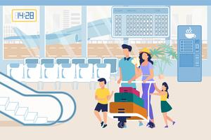 Föräldrar och barn i flygplatsen som skjuter bagagevagn vektor
