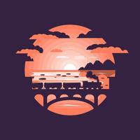 Zug auf der Eisenbahnbrücke vektor