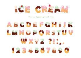 Eiscreme-Schriftart mit niedlichen Oblatenbuchstaben und -zahlen