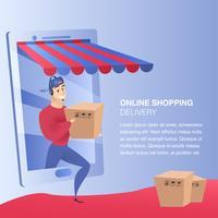 Online-shoppingleveranswebbplats vektor