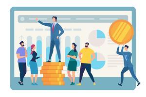 Sprechender Geschäfts-Trainer Stand auf goldenem Münzen-Stapel