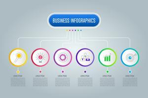 Infographic Design-Geschäftskonzept des Organigramms mit 6 Wahlen, Teilen oder Prozessen.