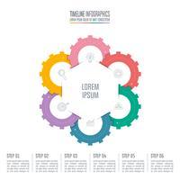 infographic design affärsidé med 6 alternativ.
