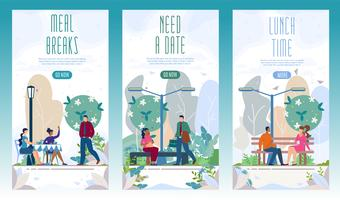 City Recreational Park Web Banners Set vektor