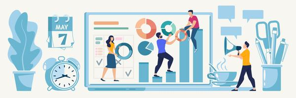 Planera onlinestartstrategi vektor