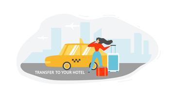 Överföring till hotell med taxi vektor