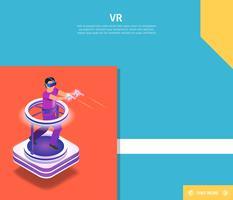 Mann, der VR-Videospiel spielt