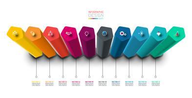 Infographik Etikettendesign mit Sechskant-Spalten