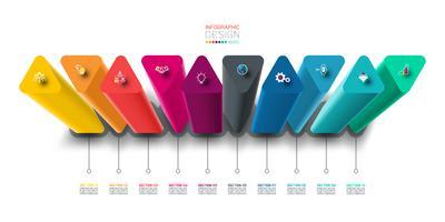 Infographic etikettdesign med triangel kolumner