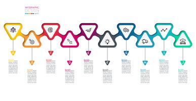 Trianglar etiketter infographic med steg för steg. vektor