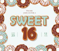 Bonbon 16 Geburtstagskarte. Gezeichnete Buchstaben der Karikatur Hand und Donutrahmen auf Pastellblau.