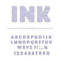 Tintengekritzel-Schriftart lokalisiert auf Weiß vektor