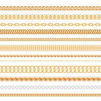 Uppsättning av guldkedjor och rep som isoleras på vit