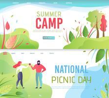 Uppsättning för landningssida för nationell picknickdag vektor
