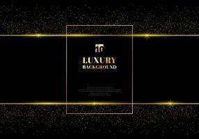 Goldenes Funkeln und glänzender Goldrahmen auf schwarzem Hintergrund