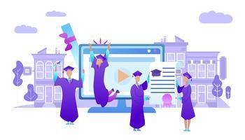 Ungdomar i akademisk cap examen universitet