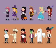 Uppsättning av barn i halloween dräkter vektor