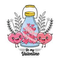 Herzpaare und -flasche, die Herzen für Valentinstag enthalten