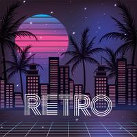 retro stad med palmer och geometrisk sol vektor