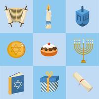 uppsättning av lyckliga hanukkah dekorationer vektor