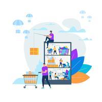 Online-Shopping und Lieferung vektor