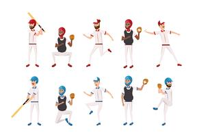 Reihe von professionellen Baseball-Spielern vektor