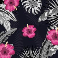 tropische Blumen mit natürlichem Betriebsmuster vektor