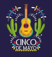 gitarr med kaktusväxter för cinco de mayo