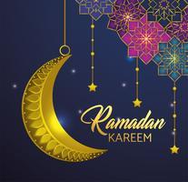 Sterne mit dem Mond, der für Ramadan Kareem hängt