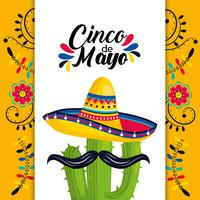 mexikanische Karte mit Hut und Kaktuspflanze mit dem Schnurrbart vektor