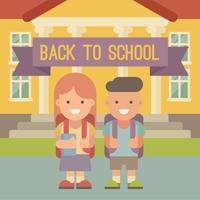 Barn med ryggsäckar som går i skolan. vektor