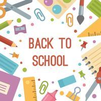 Tillbaka till skolan, brevpapper-platt ikoner banner. vektor