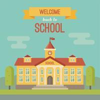 Schulgebäude und Banner mit Willkommen zurück in der Schule
