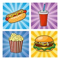 Satz von Pop-Art-Fast-Food mit Hot Dog, Limo und Hamburger