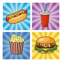 uppsättning av pop art snabbmat med varmkorv, läsk och hamburgare
