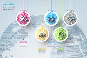 Geschäftskreisaufkleber formen infographic Gruppenstange