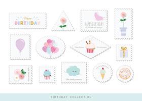Niedliche Briefmarken für Geburtstags- oder Einklebebuchentwurf vektor