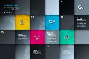 Fem fyrkantiga etiketter med affärsikoninfografik