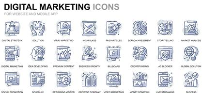 Enkel uppsättning affärs- och marknadsföringslinjesymboler för webbplatser och mobilappar vektor