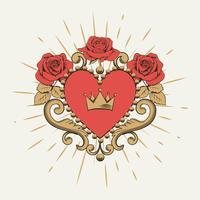 Vackert dekorativt rött hjärta med krona och rosor